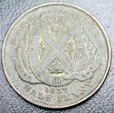 1837 Lower Canada Half Penny Bank Token - Br522 - Free Combined S/h
