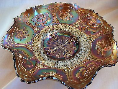 Fenton Dragon & Lotus Carnival 9in Bowl, Blue Glass Excellent Condition