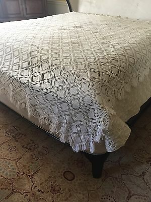 "Vintage handmade hand made Crochet coverlet bed cover lace 96"" X 86"" Fringe!"