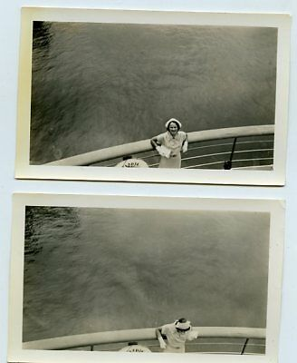 Orignal 1936  snapshot photo  French Line Cruise   SS Normandie Ship #13