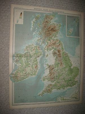 Antique 1922 England Ireland Scotland Wales Times Atlas Geology Mountain Map Nr