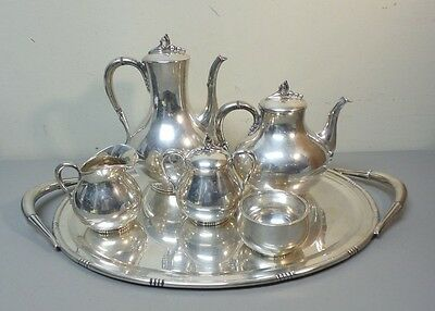 "5-Pc Mexico Sterling Silver Coffee / Tea Set & Huge 22.5"" Sterling Silver Tray"