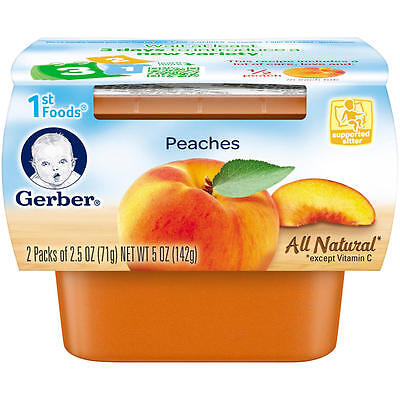 New Gerber 1st Foods Peaches Baby Food 2.5 Ounce - 2 Pack Model:8186359