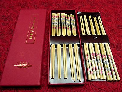 Beautiful Boxed Set 10 Pair Bamboo Chinese Chopsticks With Flowers New Condition