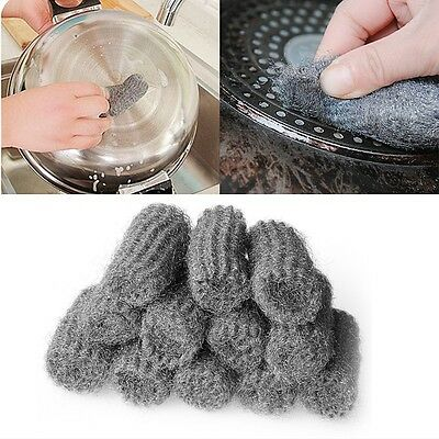 New 12PCS Steel Wool Pads Kitchen Wire Cleaning Ball Stainless Steel Pan Cleaner