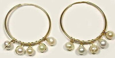 14ktGF Hoops Antique Cultured Ocean Pearls Ancient China Buddhist Deities 1300AD