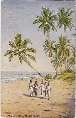 Ceylon The Sea Shore At Mount Lavinia Colombo Postcard