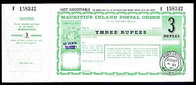 Mauritius Postal Order. 20 Rupees. Poundage surcharged 80c, with counterfoil.