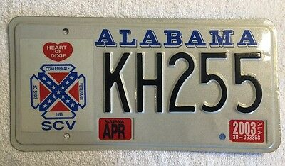 """ALABAMA -"""" SONS OF THE CONFEDERATE VETERANS """"- License Plate # KH255."""