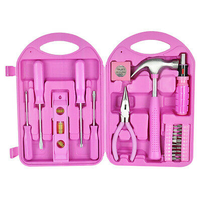 28pc Ladies Pink Tool Carry Case Set DIY Hammer Screwdrivers Bits Pliers Tape