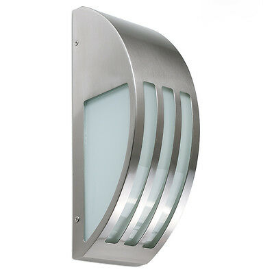 Modern Stainless Steel & Glass Outdoor Wall Light Security Outside Garden Lamp