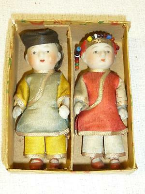 """Antique Vintage Pair China 3 1/2"""" DOLLS in Orig Box Real Ponytail Jointed Bisque"""