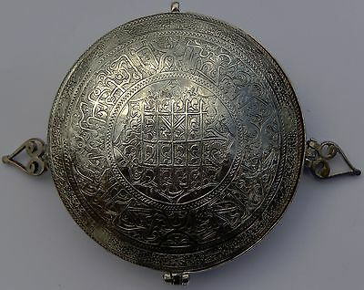 Important Museum Quality Antique Persian Qajar Islamic Solid Silver Box;