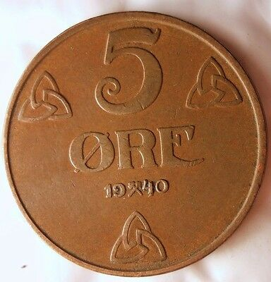 1940 NORWAY 5 ORE - Excellent Vintage Coin - FREE SHIPPING - Norway Bin #4