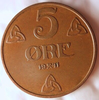 1941 NORWAY 5 ORE - Excellent Vintage Coin - FREE SHIPPING - Norway Bin #4