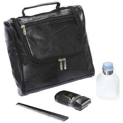 Embassy Genuine Lambskin Leather Black Toiletry Bag