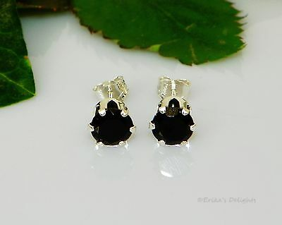 Genuine Black Spinel Round Sterling Silver Earrings (Choose your Size)