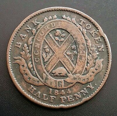 1844 Province of Canada Half Penny Token - Bank of Montreal - B7D802