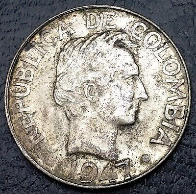 1947 Colombia 10 Centavos .500 Silver Coin, KM# 207 - FREE COMBINED S/H