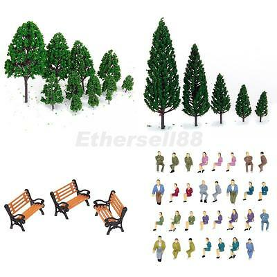 22 Mixed Model Tree, 50 Seated People Figure, 5 Bench Train Scenery 1:50 O Scale