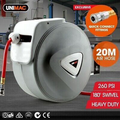 NEW Unimac 20m Retractable Air Hose Reel Commercial Wall Mounted Auto Rewind