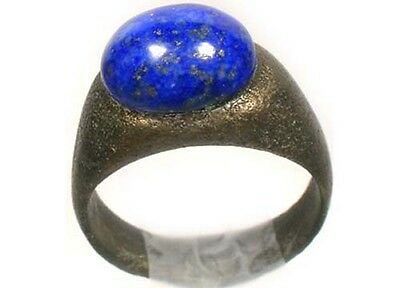 AD200 Roman Hispania (Spain) Ring Size 6 + Antique 19thC 3½ct Lapis Lazuli Gem