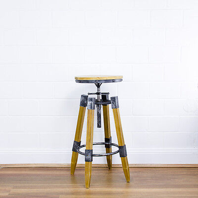 Industrial Swivel Bar Stool | Vintage Wood Retro Barn Kitchen Dining Chair