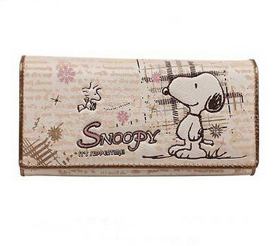 New Peanuts Snoopy PU Leather two folding Wallet Purse W35 free shipping