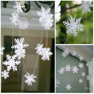 3D Snowflake Hanging Bunting Banner Garland Paper Christmas Party Decoration New