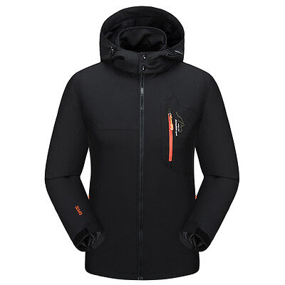 New Men's Soft Shell Outddor Hiking Camping Hooded Jackets Windproof Warm Coats