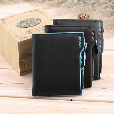 Men's Faux Leather ID credit Card holder Bifold Coin Purse Wallet Pockets@Jc