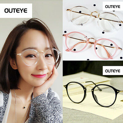 Geek Nerd Retro Costume Round Retro Large Metal Frame Clear Lens Eye Glasses TY