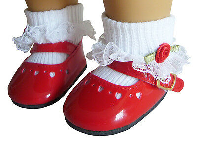 """CHRISTMAS Doll Clothes fits 18"""" American Girl Red Patent Shoes & Rosebud Socks"""