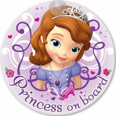 Disney Princess Sofia On Board 'Baby On Board' Car Window Sign with suction cup