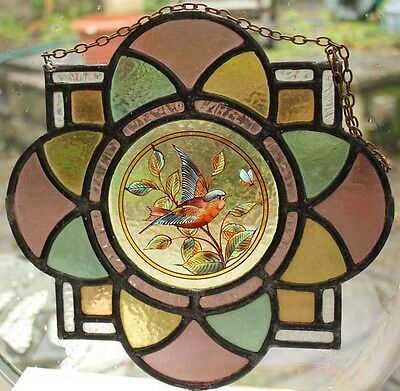 Beautiful Painted Bird & Butterfly English Antique Roundel Stained Glass Window