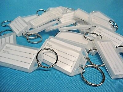 "25  ""CLIK-IT""  KEY LABEL  TAGS  with RING   (ALL CLEAR)"