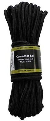 BW Kommando Seil Strick 15 m 9mm Multifunktionsseil Outdoor schwarz Paracord