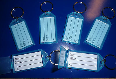 "6 ""CLIK-IT""  KEY LABEL  TAGS  with RING   (ALL BLUE)"
