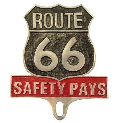 Cast Thick Aluminum Route 66 Safety Pays License Plate Fob Metal Car Tag Topper