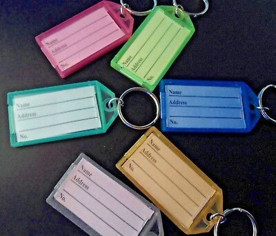 "100  ""CLIK-IT""  KEY LABEL  TAGS  with RING ~ 7 assorted colors"