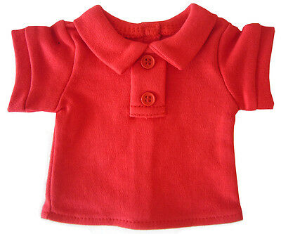 For American Girl Boy Dolls; Red Polo T-Shirt Doll Clothes