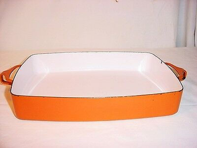 Vtg Orange IHQ Kobenstyle Baking Casserole Enamelware Large Lasagne Pan France