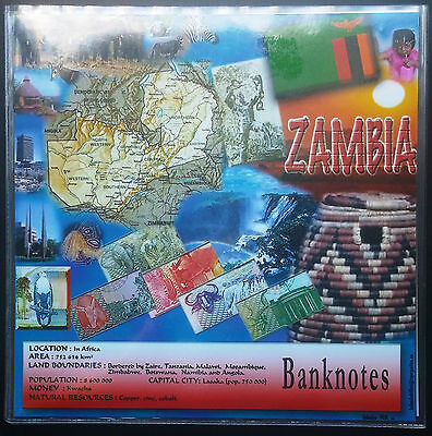 Banknotes Of Zambia Collection In Souvenir Booklet - Mint Condition Bills - B10