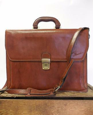 CUOIERIA FIORENTINA Large Brown Leather Organizer Briefcase Messenger Laptop Bag