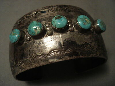 Early Vintage Navajo Wide Hand Pounded Silver Turquoise Bracelet