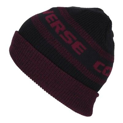 52613df440b4 Converse Ctas Hat Jacquard Knit Watchcap Black Red Block (Black Red) New