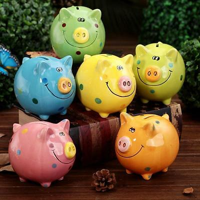 NEW PIGGY Bank Coin Money Cash Collectible Ceramic Savings Pig Toy Safe Box PS