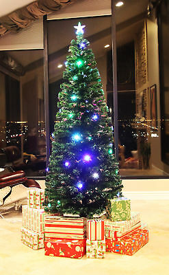 8 Ft Pre-Lit Multi Color Led & Fiber Optic Christmas Tree - Bright Star Stand