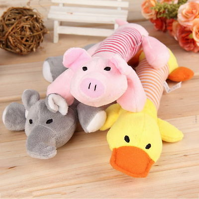 Pet Puppy Chew Squeaker Squeaky Plush Sound Pig Elephant Duck Ball For Dog Toys@