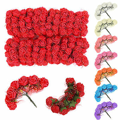 144Pcs Colourfast Foam Roses Artificial Flower Wedding Bride Bouquet Party Décor